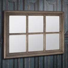 Winster Wall Mirror Rectangular In Weathered With Window Design
