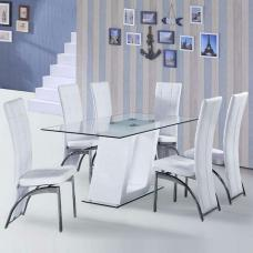 Pisa Glass Dining Table In White Gloss And 6 Ravenna White Chair