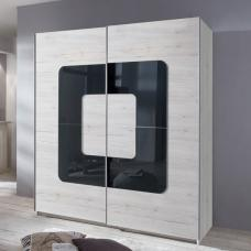 Cubi Sliding Wardrobe In White Oak With Grey Glass Inserts