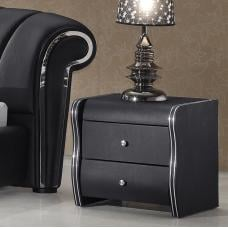 Veronica 2 Drawer Black Faux Leather Bedside Cabinet