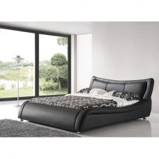 Zanbury King Size Bed In Black Faux Leather With Aluminium Legs