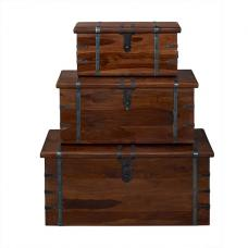 Bursa Set of 3 Storage Trunks Rectangular In Sheesham Wood
