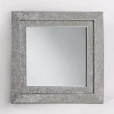 Amber Decorative Wall Mirror Square In Mosaic Silver Frame