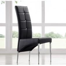 Vesta Studded Faux Leather Dining Room Chair in Black