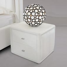 Victoria Contemporary 2 Drawer White Faux Leather Bedside Drawer