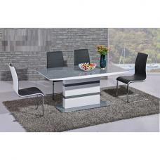 Arctic Dining Table In Grey Glass Top With 6 Encore Dining Chair