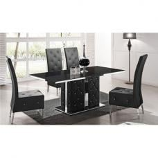 Levo Glass Dining Table In Black PU And 6 Asam Chair