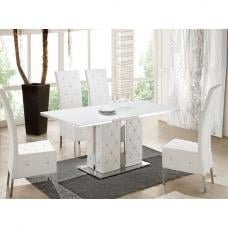 Levo Glass Dining Table In White PU With 6 Asam Chairs