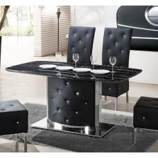 Serene Black Marble Finish Dining Table And 4 Chairs