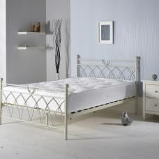 Dales Contemporary Double Bed In Cream Metal