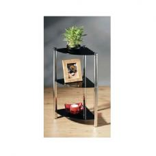 3T Corner Glass Display Stand In Black With Chorme Base