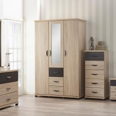 Margate Mirrored Wardrobe In Sonoma Oak And Black With 3 Doors