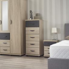 Margate Narrow Chest Of Drawers In Sonoma Oak And Black