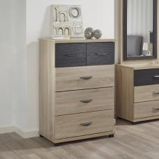 Margate Wide Chest Of Drawers In Sonoma Oak And Black