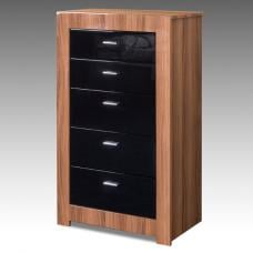 Emma Tall Chest In Walnut With Black High Gloss Drawers