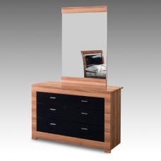 Emma Dressing Table With Mirror In Walnut And Gloss Black Drawer