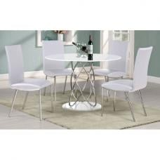 Eclipse White High Gloss Finish Dining Table And 4 Dining Chairs