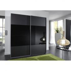 Enter Sliding Wardrobe In Black With Glass