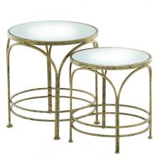 Nathan Mirrored Top 2 Nesting Tables Round In Metal Frame