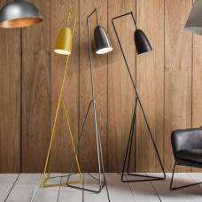 Braize Adjustable Floor Lamp In Yellow Finish With Metal Frame