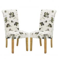 Freda Dining Chair In Floral Fabric With Oak legs in A Pair