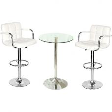 Gino Bistro Table In Clear Glass With 2 White Glenn Bar Stools