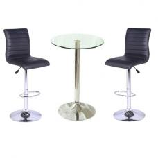 Gino Bar Table In Clear Glass With 2 Ripple Black Bar Stools