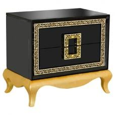Frenzi Lamp Table In Black High Gloss With Diamanté Jewels