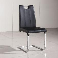 Fabrize Dining Chair In Black Faux Leather With Chrome Base