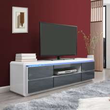 Frame Large TV Stand White Grey Gloss With LED And 5 Drawers