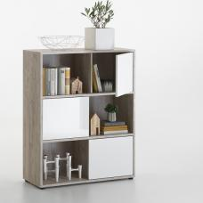 Cleator Shelving Unit In Sand Oak And White Gloss With 3 Doors