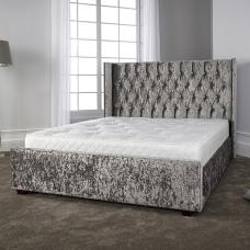 Keira Contemporary Bed In Glitz Silver With Wooden Feet