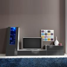 Gala Entertainment Unit Set 5 In White And Grey Gloss With LED