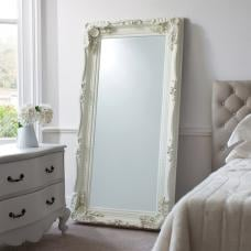 Luxembourg Floor Mirror Rectangular In Matt Cream