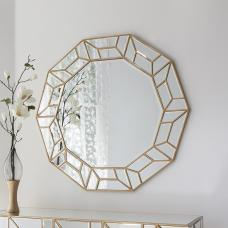 Penrith Modern Wall Mirror Decagon In Painted Gold