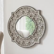 Rosemont Wall Mirror In Cream With Flower Fretwork Pattern