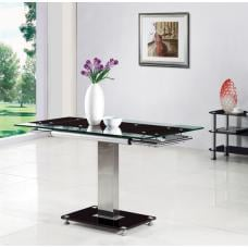 Enke Extending Dining Table In Black Glass And Chrome