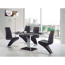 Enke Glass Extending Dining Table With 4 Z Chairs Black