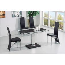 Enke Black Glass Extending Dining Table And 4 Romeo Dining Chair