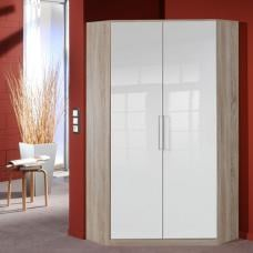 Gastineau Corner Wardrobe In Oak With Gloss White Front 2 Door