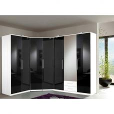 Gastineau Corner Wardrobe In Alpine White With Black Gloss Front