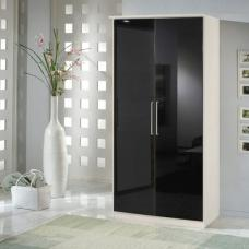 Gastineau Wardrobe In Alpine White With Black Gloss Front 2 Door