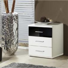 Gastineau Bedside Cabinet In White And Black With 3 Drawer