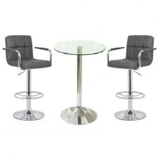 Gino Glass Bar Table With 2 Glenn Bar Stools In Grey