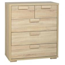 Gambon 3+2 Drawer Chest In Sonoma Oak Finish