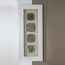 Grande Wooden Glass Wall Art In White And Silver