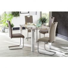 Hanna Glass Dining Table In Taupe With 6 Marie Dining Chairs