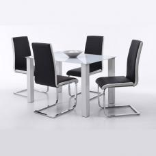 Hanna Dining Table In Frosted Glass With 6 Top Dining Chairs