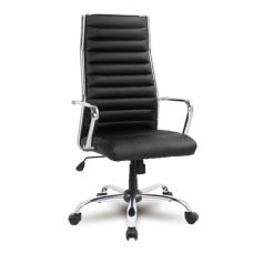 Julius Home Office Chair In Black Faux Leather With Castors