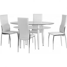 Hartley White Dining Set In Metal Frame